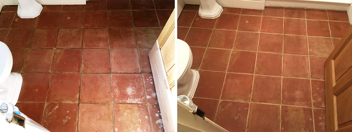 Mexican Terracotta Tile Floor Before and After Sealing Shrewsbury