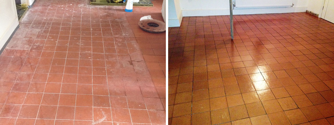 Modern Quarry Tiled Floor in Nesscliffe Before and After Cleaning