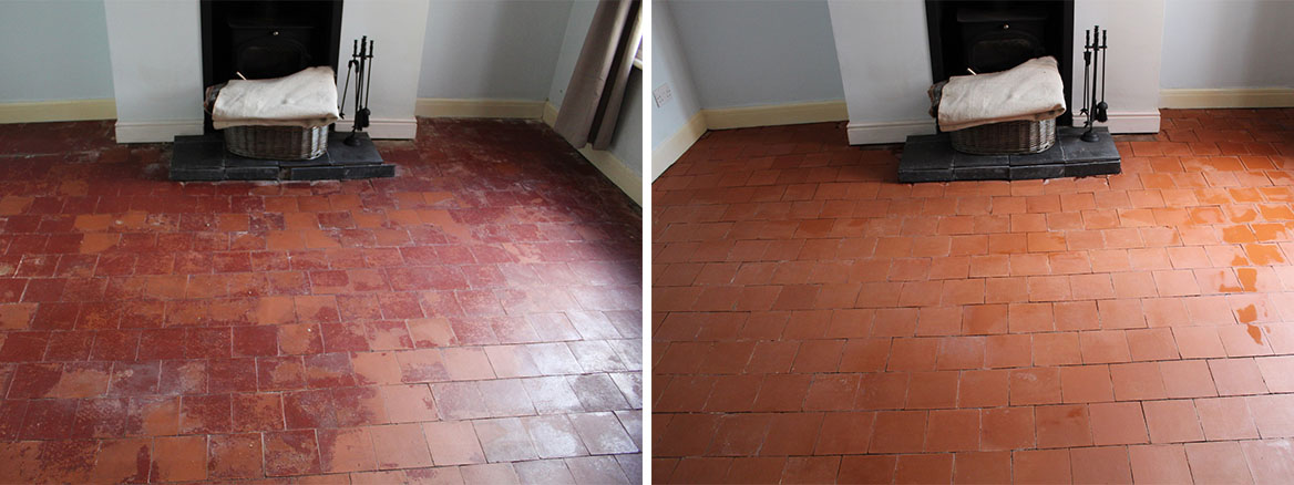 Painted Quarry Tile Floor Before and After Restoration Bayston Hill