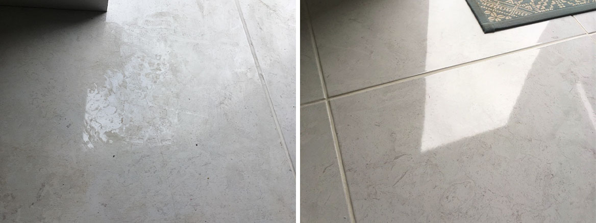 Porcelain Tiled Floor Before and After Epoxy Grout Haze Removal Lawley Village Telford