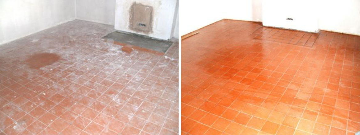 Quarry Tiled Floor Before and After Cleaning and Sealing