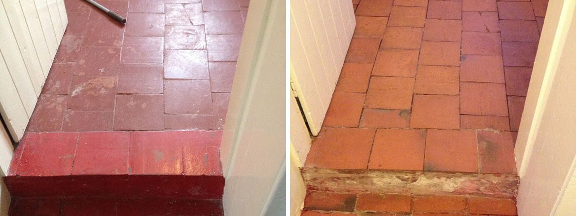 Quarry Tiled Floor Before and After Renovation Much Wenlock