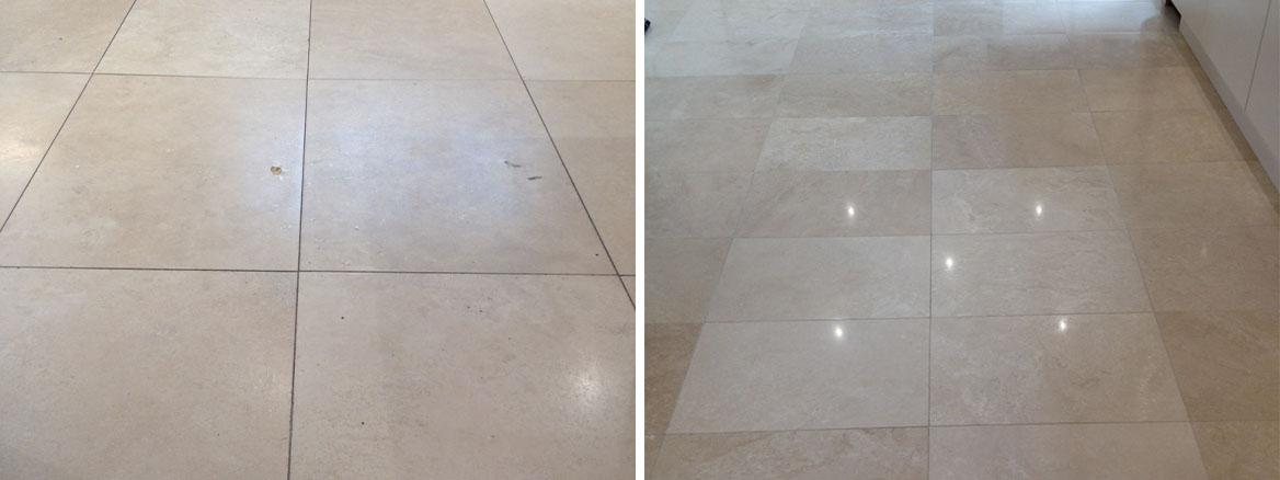 Travertine Floor Before and After Polishing in Priorslee Telford