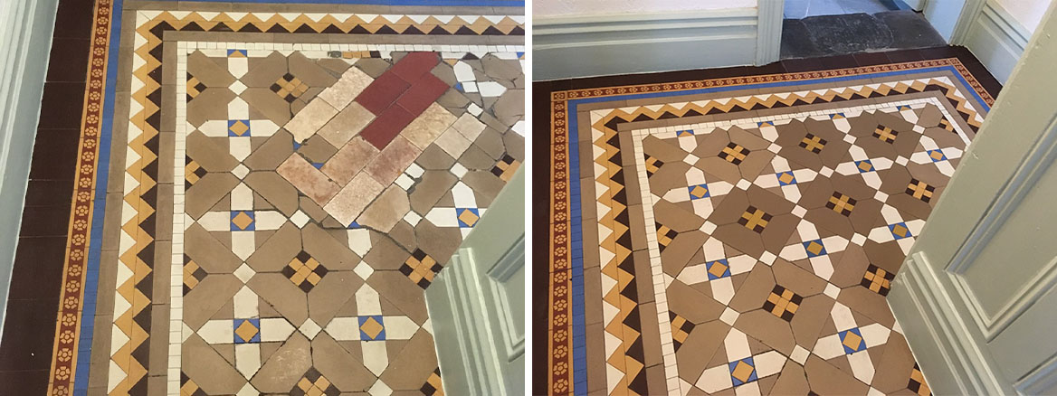 Victorian Tiled Floor Before and After Cleaning Oswestry
