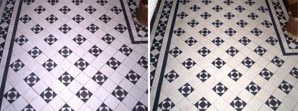 Victorian Tiled Floor Before and After Cleaning and Sealing