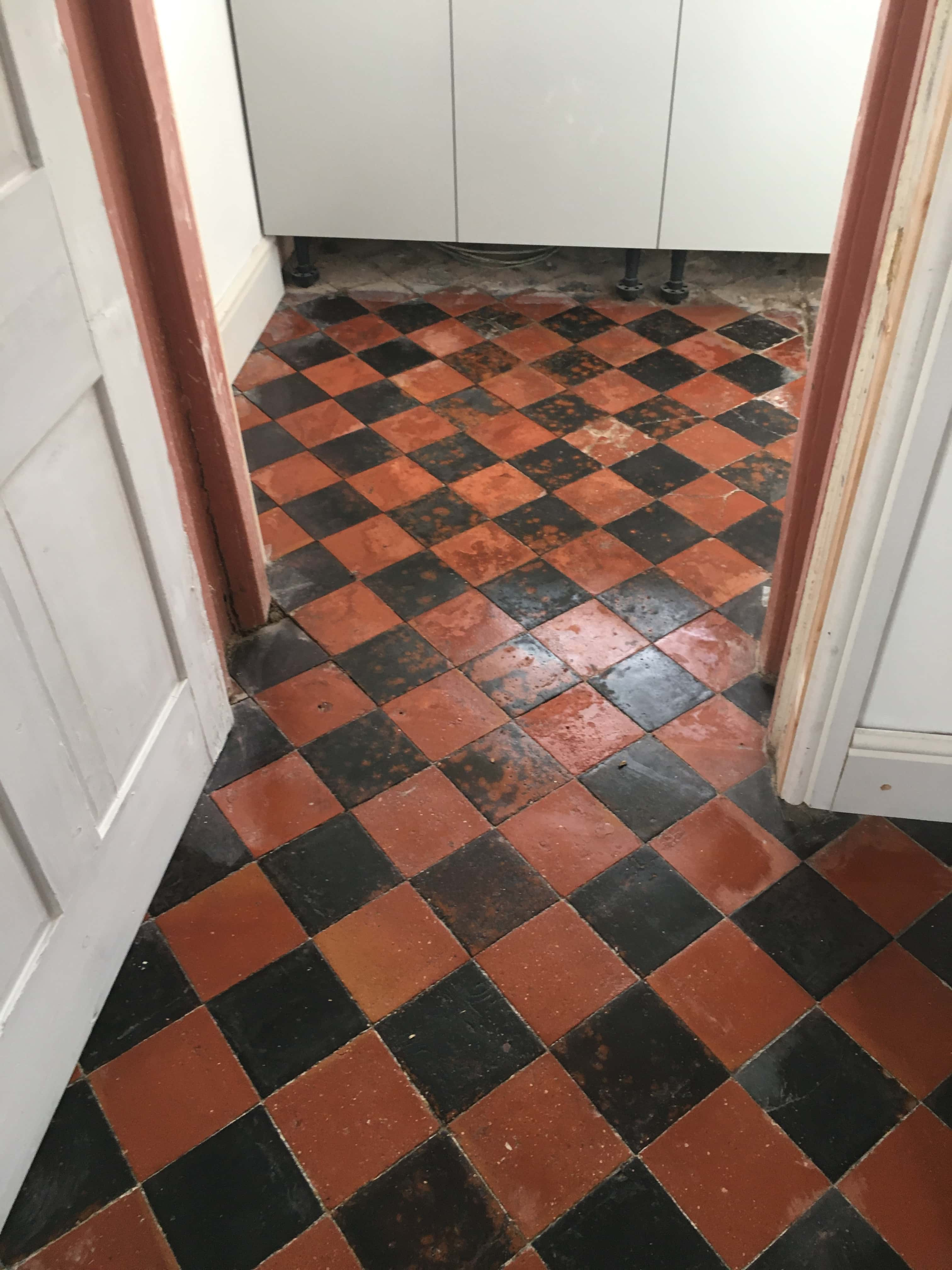Quarry Tiled Kitchen Floor Oswestry After Sealing