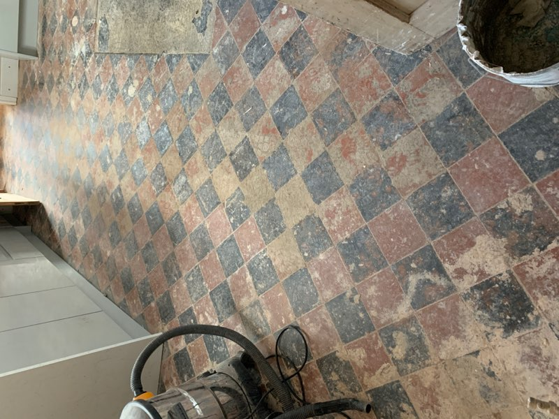 Quarry Tiled Kitchen Floor Oswestry Before Restoration
