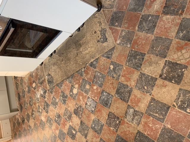 Quarry Tiled Kitchen Floor Oswestry Before Restoration