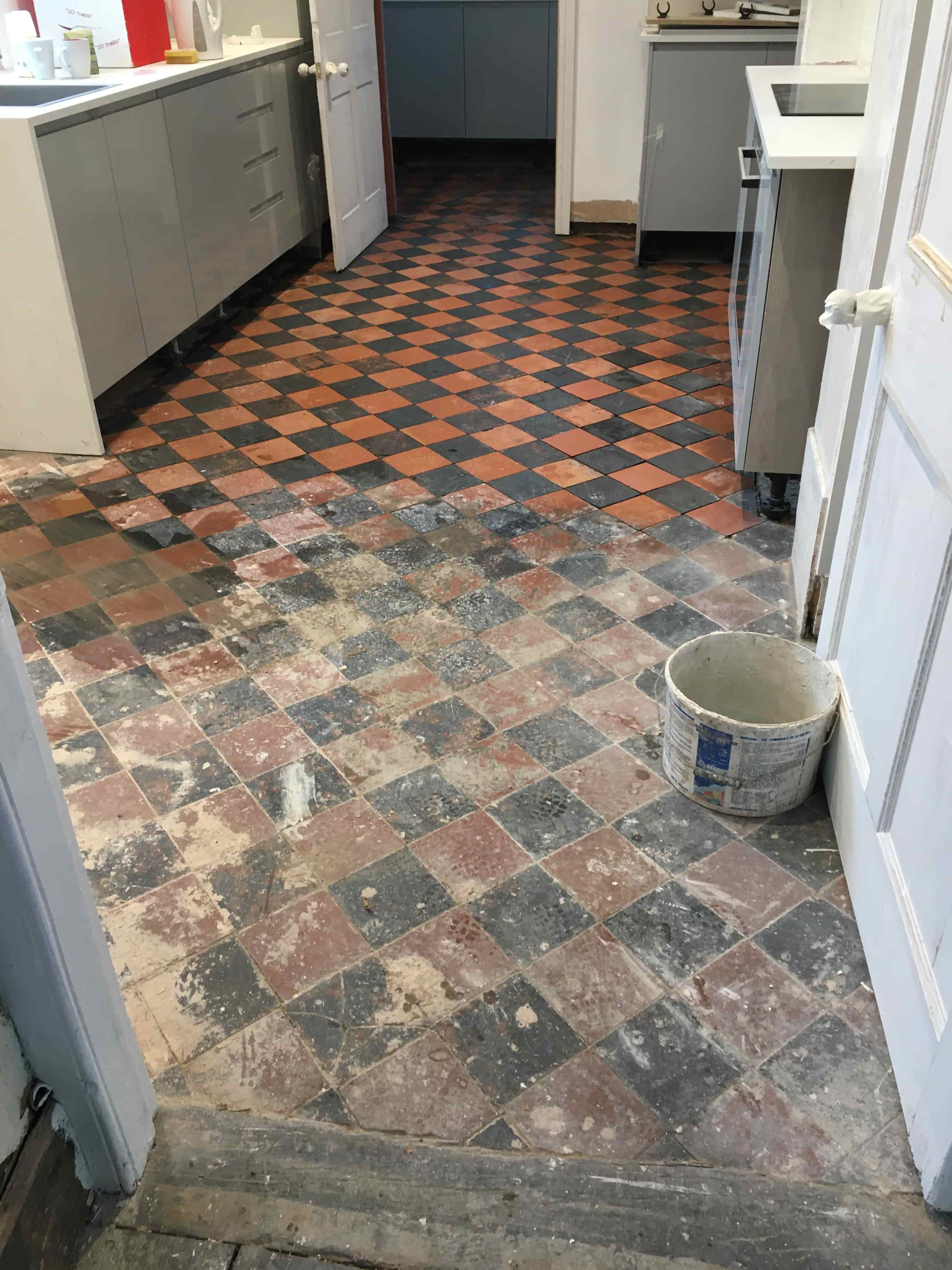 Quarry Tiled Kitchen Floor Oswestry During Cleaning