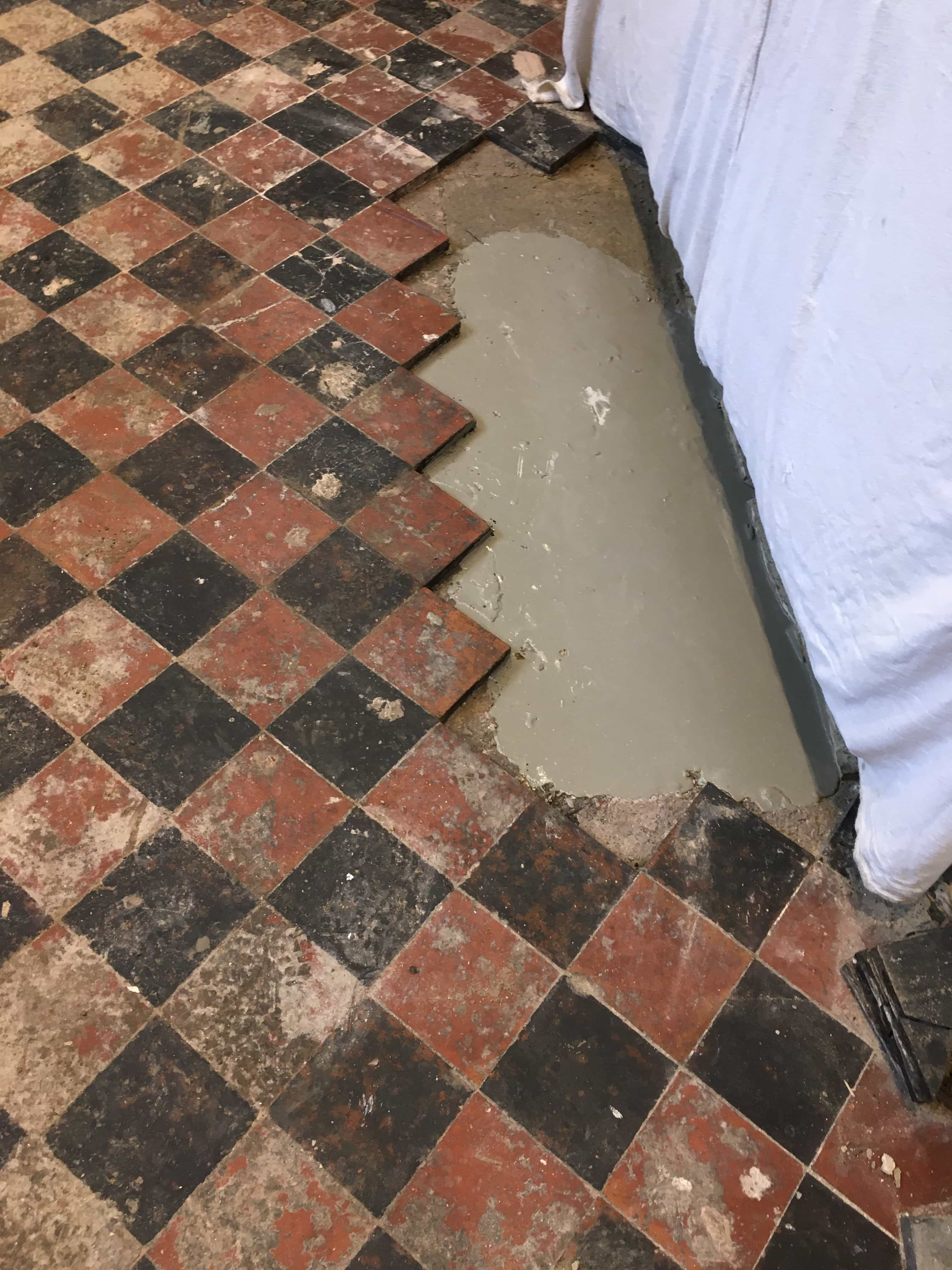 Quarry Tiled Kitchen Floor Oswestry During Repair