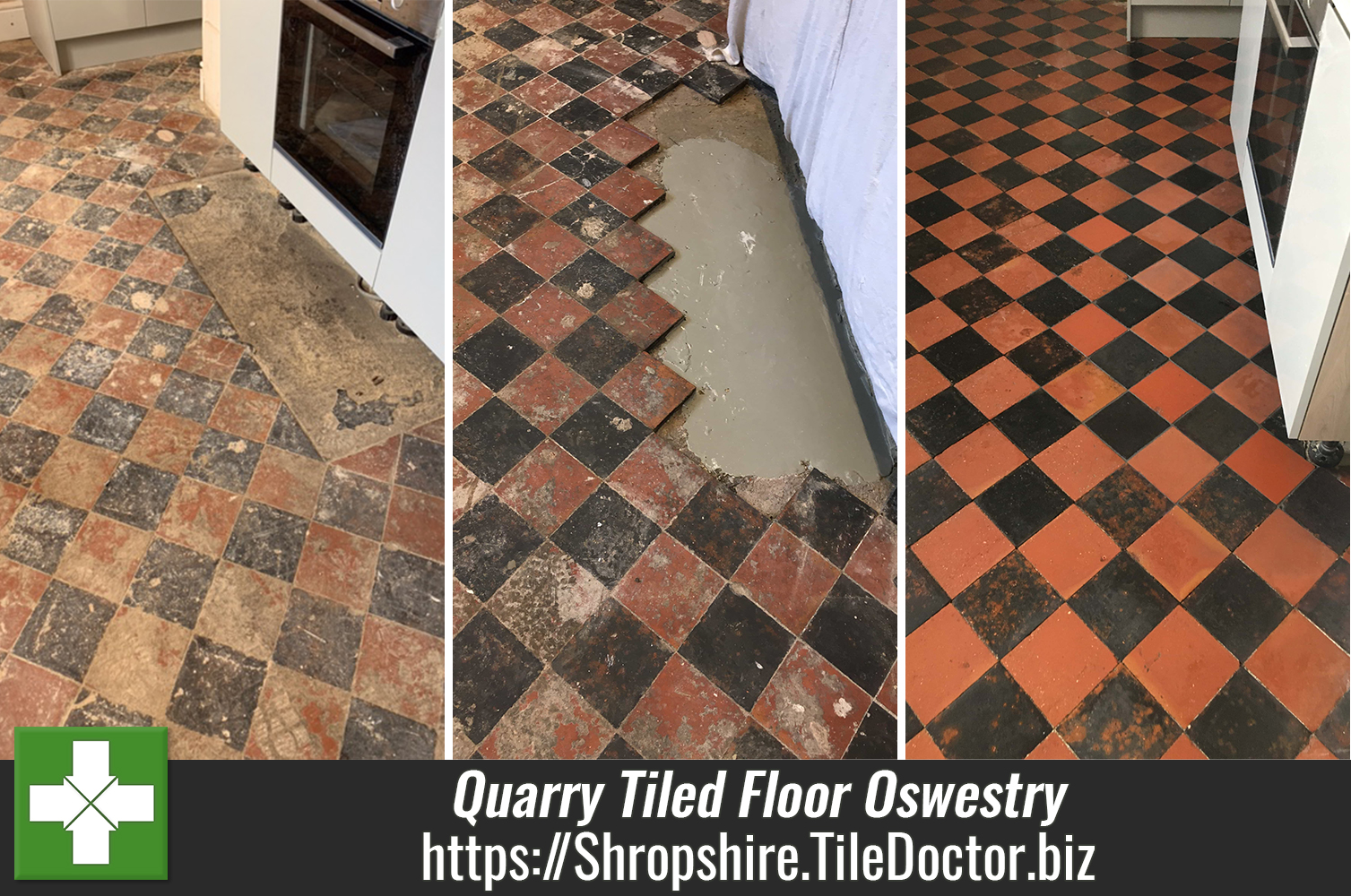 Restoring a Kitchen and Utility Quarry Tiled Floor in Oswestry